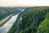 Landscapes of Saxon Switzerland - is the German part of Elbe Sandstone Mountains. The valley of the river Elbe. - 222023227