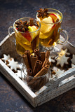 hot apple tea with spices and gingerbread cookies, vertical - 222025629