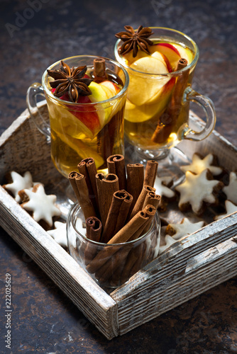 Sticker hot apple tea with spices and gingerbread cookies, vertical