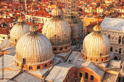 Landscape view of the historic buildings of Venice, Italy on a sunny day. - 222027261