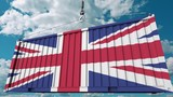 Container with flag of the United Kingdom. British import or export related conceptual 3D animation - 222031027