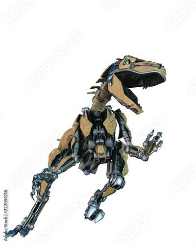 Fototapeta dinosaur robot in a white background