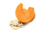 Slice of pumpkin with seeds isolated on a white background - 222036056