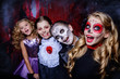 Leinwanddruck Bild - children at halloween party
