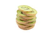Sliced kiwi fruits isolated on white background - 222036250