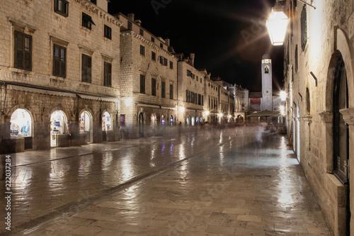 Fototapeta Dubrownik at night in Croatia, Europe