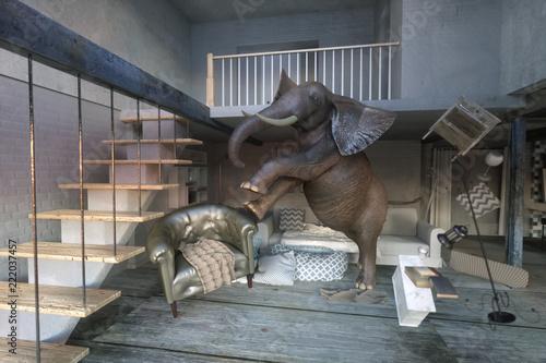 Fototapeta 3D Illustration of an elephant calm in a interior. concept