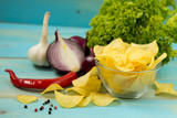Potato chips homemade. Crispy potato chips - 222039029