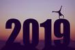 Leinwanddruck Bild - New year 2019 silhouette with gymnast as symbol for fun