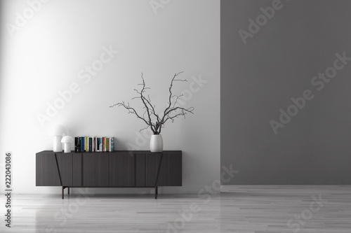 Leinwanddruck Bild Modern bright interiors apartment with mock up poster frame illustration 3D rendering computer generated image