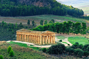 Segesta ancient Temple Sicily Italy wide view