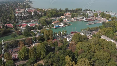 Poster Aerial view of Siofok,Town on the lake Balaton in the Hungary. Balaton is the largest lake of the central Europe.