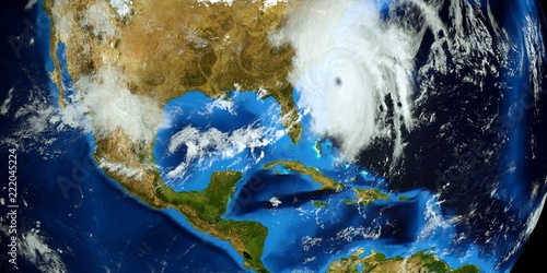 Fototapeta Extremely detailed and realistic high resolution 3D illustration of Hurricane Florence approaching the US East Coast. Shot from Space. Elements of this image are furnished by Nasa.