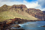 View of the Los Gigantes cliffs from Punta de Teno, Tenerife, Canary Islands, Spain - 222050295