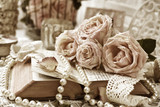 vintage style still life with roses and old book in sepia - 222051292