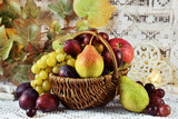 autumn fruits in vicker basket