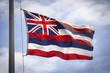 Hawaiian state flag in the wind on Oahu Hawaii USA