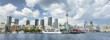 Downtown panoramic city view of Toronto Canada from Queens Quay and Lake Ontario