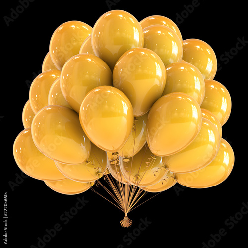 balony żółte pęczek błyszczące dekoracje świąteczne. grupa balonów z urodzinowym helem. festiwal, karnawał, święto, symbol rocznicy. 3d rendering, odizolowywający na czerni