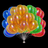 colorful balloons bunch. happy birthday, holiday, party decoration multicolor, celebration symbol. 3d rendering, isolated on black - 222057494