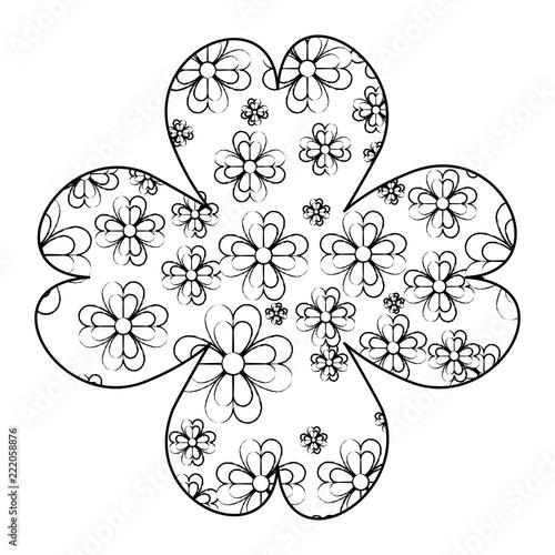 Clover Leaves Inside Clover Frame Sketch