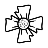 Flower symbol isolated in black and white - 222061482