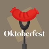 oktoberfest label with sausage - 222061677