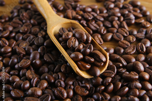 background of coffee and spoon wooden background - 222063814