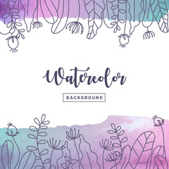 Pastel watercolor background with floral. Flower hand drawn on pastel watercolor background for greeting card, poster, banner and printing design. Vector illustration