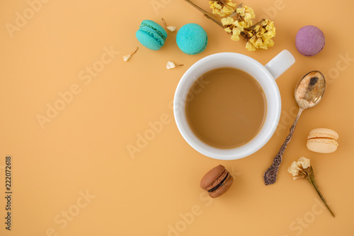 Sticker Coffee cup with macaroons, flower and vintage spoon