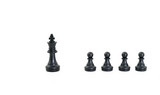 Black chess pieces on white background - 222074872