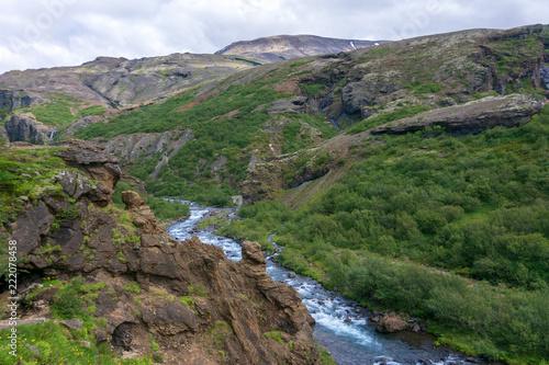 Foto Murales  Glymur waterfall area on Hvalfjordur fjord, Iceland