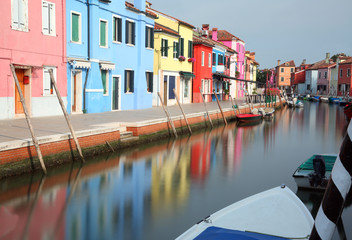 canal in Burano Island near Venice in Italy