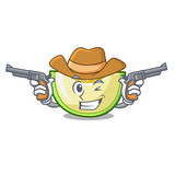Cowboy slice of melon isolated on cartoon - 222082001
