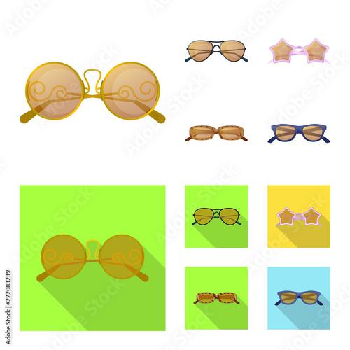 Wektorowy projekt szkieł i okularów przeciwsłonecznych symbol. Kolekcja okularów i akcesoria wektorowe ikony dla zapasów.