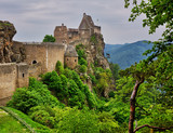 Old castle ruins with the view to Danube river valley. Aggstein, Austria, Wachau valley, popular travel destination. - 222083607