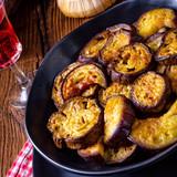 Melitzanes Tiganites - fried aubergines in the Greek style. - 222085860