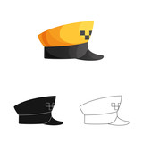 Vector design of headgear and cap logo. Set of headgear and accessory stock symbol for web. - 222088253