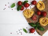 italian pasta, tomatoes and basil