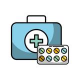 medical kit first aid medication pills - 222089683
