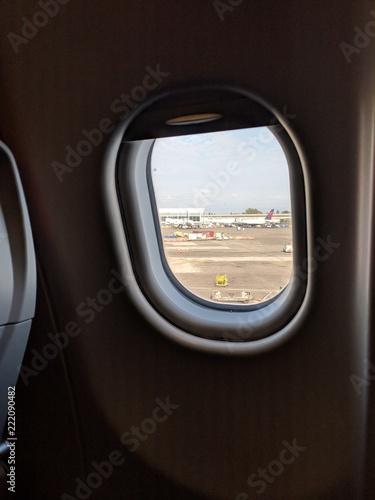 Airplane window - 222090482