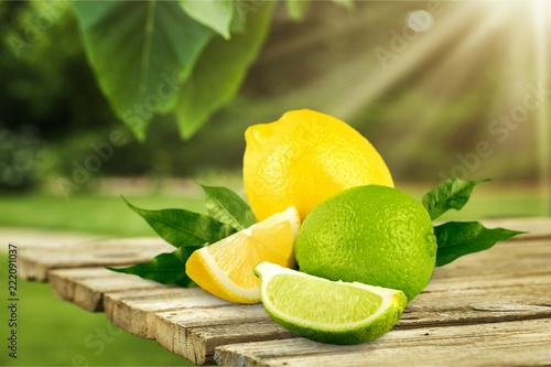 collection of fresh limes and lemons - collage - 222091037