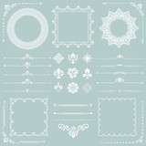 Vintage set of horizontal, square and round elements. Different elements for decoration design, frames, cards, menus, backgrounds and monograms. Classic patterns. Set of vintage patterns - 222093602