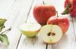 Apfel Anschnitt Kerne Tisch Äpfel Fruchtfleisch
