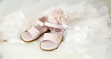Baby girl christening shoes and headband - 222095450