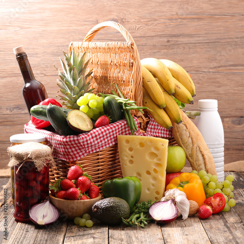 basket with grocery - 222096602