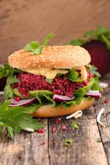 vegan burger with beetroot