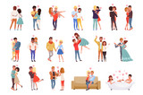 Young men and women characters in love hugging set, happy romantic loving couples cartoon vector Illustrations - 222104662
