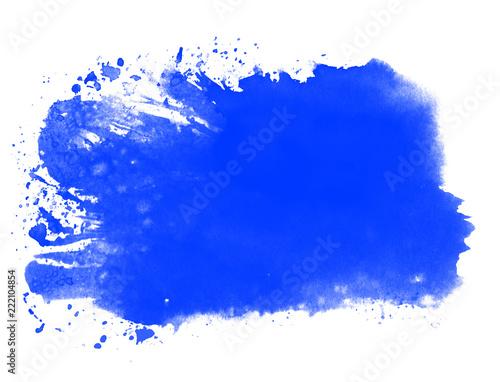 Leinwandbild Motiv Blauer Farbfleck aus Wasserfarbe