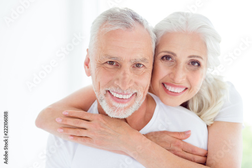 Leinwanddruck Bild Two carefree, careless, positively couple people with grey hair